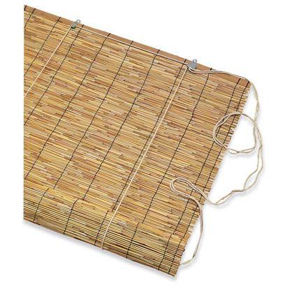 Immagine di Tapparella Cina, in cannetta di bambù Ø 3/4 mm, arrotolamento a carrucola, supporto in bambù, 120xh260 cm