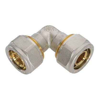 Immagine di Raccordo a stringere a gomito, per tubo multistrato, doppio, 26x26 mm