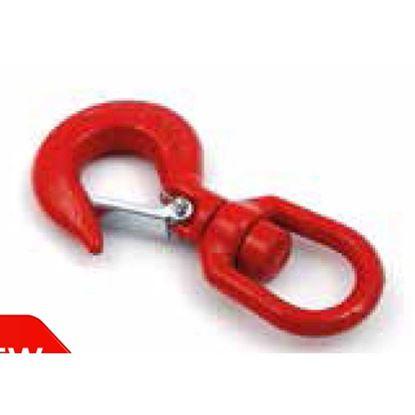Immagine di Gancio girevole, colore rosso, in carbonio, con sicura, carico di rottura 750 kg