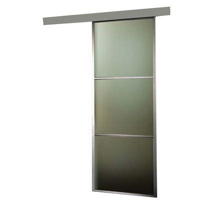 Immagine di Porta scorrevole, alluminio, 3 inserti in vetro, 76x215x4 cm