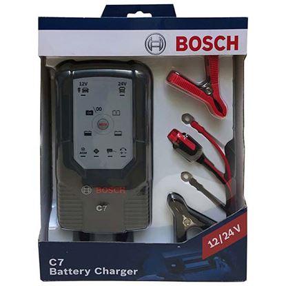 Immagine di Caricabatteria Bosch, C7, automatico, per batterie al piombo 12 V e 24 V, per auto e moto, max 12 V-230 Ah, 24 V-120 Ah