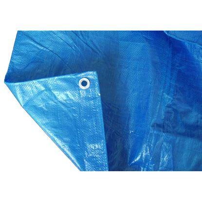 Immagine di Telo occhiellato, multiuso in polietilene, robusto e impermeabile, bordo rinforzato, colore blu, 90 gr/m², 5x8 mt