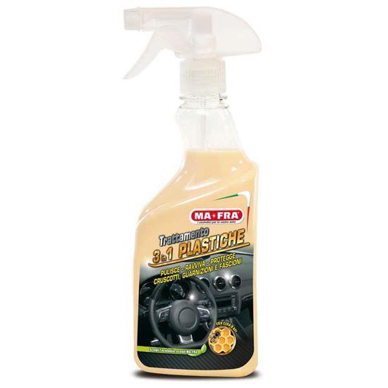 Immagine di Detergente cruscotti Ma-Fra, 3in1 Plastiche, interni auto, pulisce, ravviva cruscotti e parti in plastica, spray 500 ml
