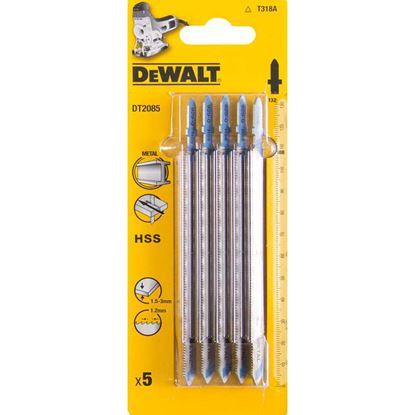 Immagine di Lama DeWalt, in acciaio HSS, 1,2x132 mm, x tagli diritti da 1,5 a 3 mm, e alluminio con spessore fino a 65 mm, 5 pezzi