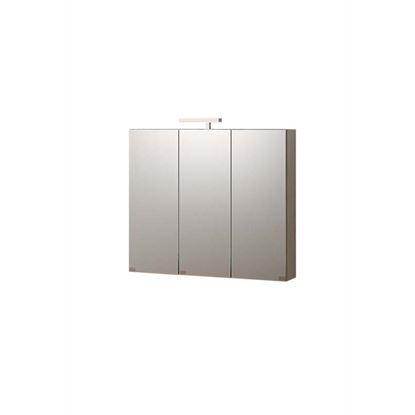 Immagine di Specchiera contenitore, Oscar, 3 ante, illuminazione a led, colore larice, 81x15xh70 cm