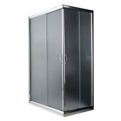Immagine di Box doccia Giada, profilo alluminio anodizzato cromo lucido, cristallo 6 mm opaco, 70x90xh185 cm