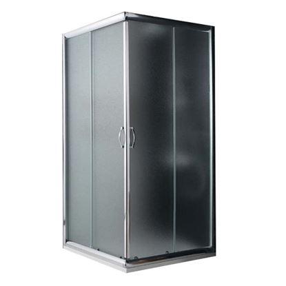 Immagine di Box doccia Giada, profilo alluminio anodizzato cromo lucido, cristallo 6 mm opaco, 80x100xh185 cm