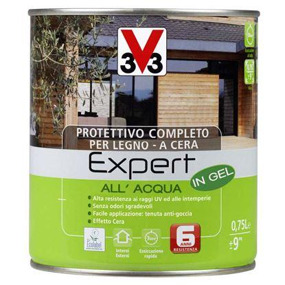 Immagine di Protettivo all'acqua V33, Expert, per legno, in gel, decora ed impermeabilizza il legno, 0,75 lt, colore ciliegio