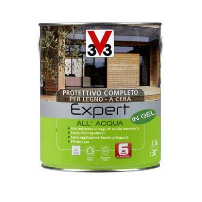 Immagine di Protettivo all'acqua V33, Expert, per legno, in gel, decora ed impermeabilizza il legno, 2,5 lt, colore noce medio