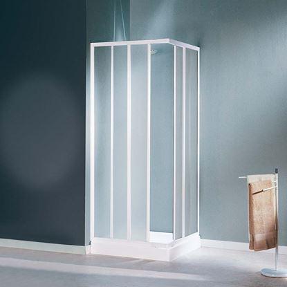 Immagine di Box doccia Mediterraneo, profilo bianco, acrilico, 64/74 cm