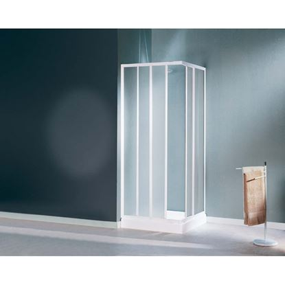 Immagine di Box doccia Mediterraneo, profilo bianco, cristallo stampato 3 mm, 70/80 cm