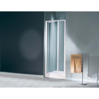 Immagine di Porta doccia Mediterraneo, battente, profilo bianco, acrilico, 73/77 cm