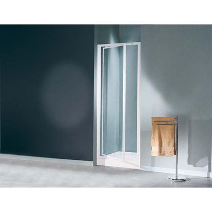 Immagine di Porta doccia Mediterraneo, battente, profilo bianco, cristallo stampato 3 mm, 65/69 cm