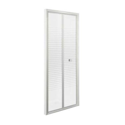 Immagine di Porta doccia Gala, pieghevole, profilo alluminio bianco, cristallo temperato 4 mm, con serigrafia, 90xh185 cm