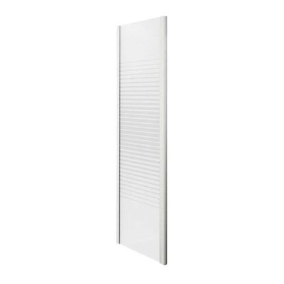 Immagine di Lato fisso Gala, profilo alluminio bianco, cristallo temperato 4 mm, con serigrafia, 70xh185 cm