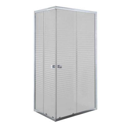 Immagine di Box doccia Umbra, profilo alluminio cromo, cristallo temperato 5 mm, con serigrafia, 90x70xh190 cm