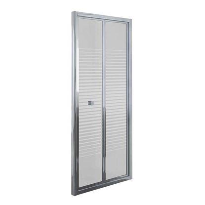 Immagine di Porta doccia Umbra, pieghevole, profilo alluminio cromato, cristallo temperato 4 mm, con serigrafia, 80xh190 cm