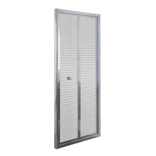 Immagine di Porta doccia Umbra, pieghevole, profilo alluminio cromato, cristallo temperato 4 mm, con serigrafia, 90xh190 cm