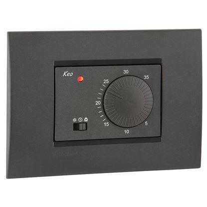 Immagine di Termostato elettronico, analogico, da incasso, 3 posti, a batterie