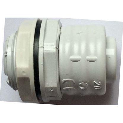 Immagine di Raccordo guaina cassetta, anello girevole diritto, colore grigio, con anello di tenuta per guaina, Ø 25 mm