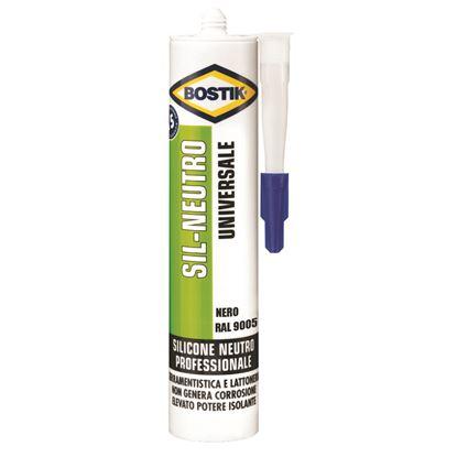 Immagine di Silicone Bostik Sil-Neutro, per sigillature elastiche, durature e resistenti alle muffe, 300 ml, colore nero RAL 8005