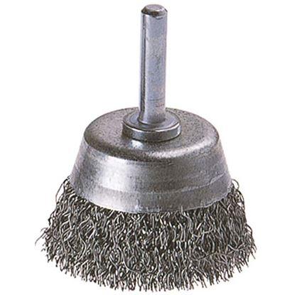Immagine di Spazzola a tazza, per trapano, filo in acciaio ondulato, codolo Ø 6 mm, Ø 50 mm