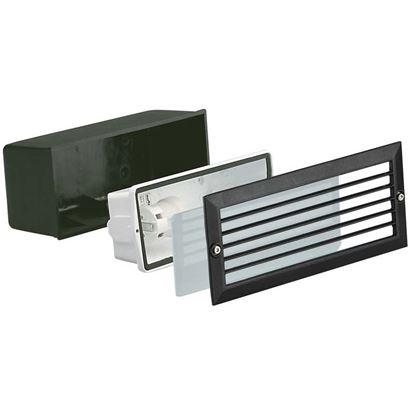 Immagine di Faretto segna passo Walking, griglia frangiluce, diffusore vetro sat.bianco, IP54, E27-40 W, 23,3xh10,1 cm, colore nero