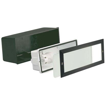Immagine di Faretto segna passo Walking, incasso a parete, diffusore vetro sat.bianco, IP54, E27-40 W, 23,3xh10,1 cm, colore nero