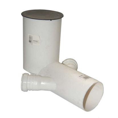 Immagine di Curva per WC prolungata HTSB, colore bianco, Ø 90 mm, con 2 derivazioni Ø 40 mm