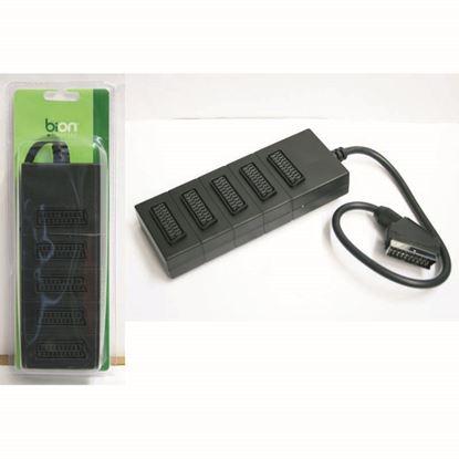 Immagine di Multipresa con 5 prese scart a 21 poli, spina scart, cavo 50 cm, colore nero