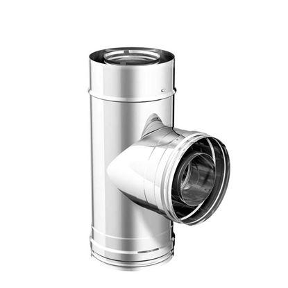 Immagine di Raccordo a t 90°, acciaio inox, doppiaparete, AISI316L, stacco femmina, Ø80/130 mm