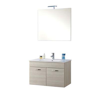 Immagine di Mobile da bagno Rio, 2 ante, specchio a muro con led, ante soft close, colore larice, 80x46x190 cm