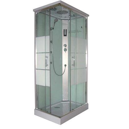 Immagine di Cabina Idro Vale 70x100x215 cm, profili in alluminio grigio satinato porte scorrevoli in vetro temprato 5 mm trasparente