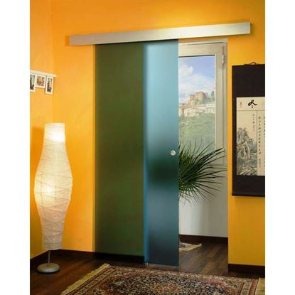 Immagine di Porta scorrevole, cristallo temperato, 8 mm, blu, 86x215 cm
