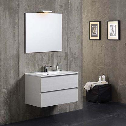 Immagine di Composizione mobile bagno Matilde 80 cm , 2 cassetti, lavabo in ceramica, specchio filo lucido, lampada alogena