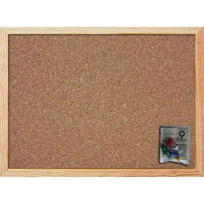 Immagine di Bacheca in sughero, con cornice in legno, sughero entrambi i lati, spessore 14 mm, accessori fissaggio inclusi, 30x45 cm