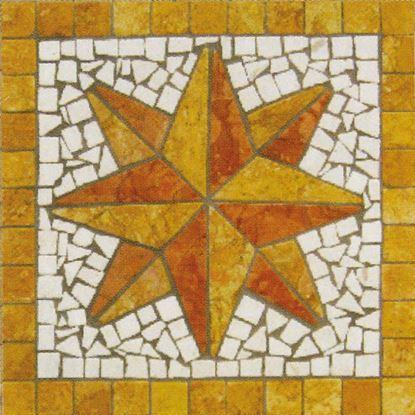 Immagine di Rosone stella disegno Giglio, prima scelta, marmo rosso verona, giallo reale, bianco, spessore 7 mm, 33x33 cm, idrogetto