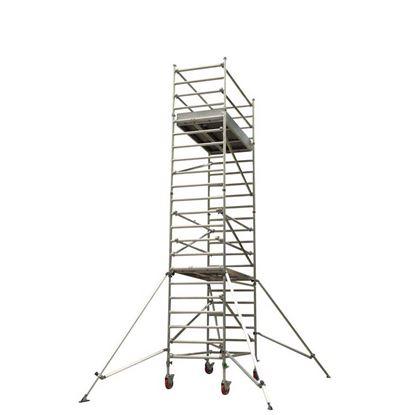 Immagine di Trabattello Facal in alluminio, Capo2, sistema di aggancio e sgancio rapido, altezza lavoro 3,66 mt