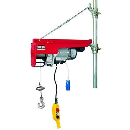 Immagine di Elevatore 450 W, portata 100 kg tiro singolo - 200 kg tiro doppio,  fune Ø 3 mm, carico rottura fune 1200 kg