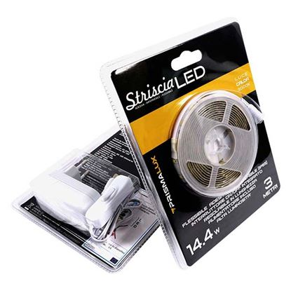 Immagine di Strip LED adesiva 14,4W, alta luminosità, IP65, flessibile, 3 metri, luce calda
