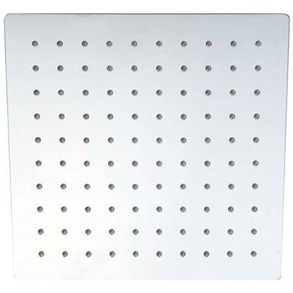 Immagine di Soffione doccia ultra slim, quadrato, in acciaio, anticalcare, 200x200x50 mm