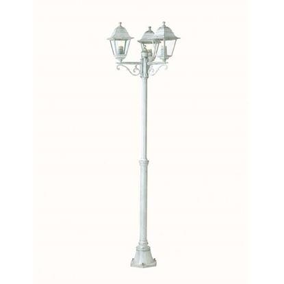 Immagine di Palo estensibile con 3 lanterne Old, diffusore vetro trasp., IP43, E27-3x60 W, altezza 137/203 cm, colore bianco argento