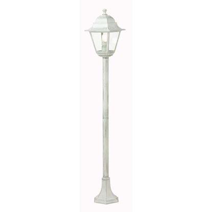 Immagine di Palo con lanterna Old, diffusore in vetro trasparente, IP43, E27-60 W, altezza 121 cm, colore bianco argento