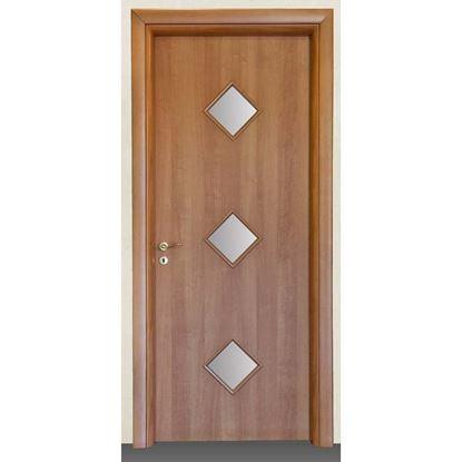 Immagine di Porta alessia noce chiaro batt., revers., 88x214 cm, telaio piatto, acc. olv, con vetro