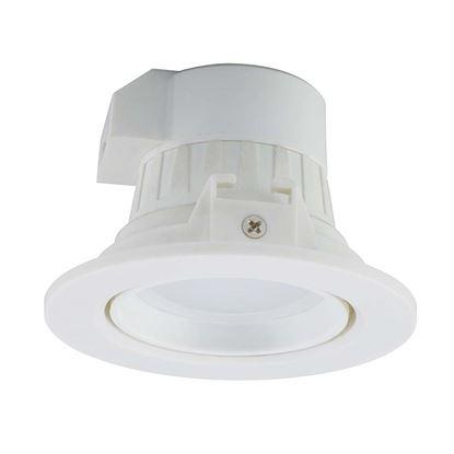 Immagine di Faretto LED Downlight orientabile 7W, GU10, incassato, luce calda, 3000°K, diffusore trasparente
