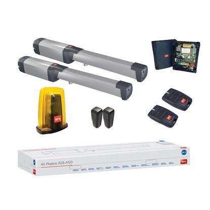 Immagine di Kit apricancello PHOBOS battente A25 AC , 230 V, completo di lampeggiante e telecomando, anta fino a  2,5 mt,  400 Kg