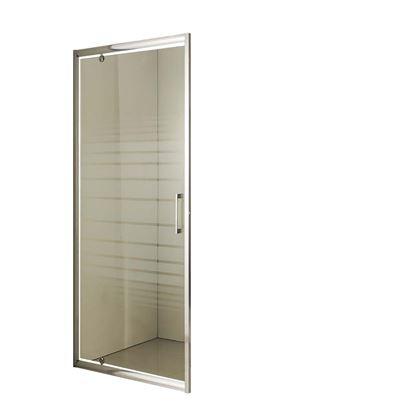 Immagine di Porta battente, profilo alluminio bianco, cristallo piumato, spessore 6 mm, h195 cm, 68/71 cm