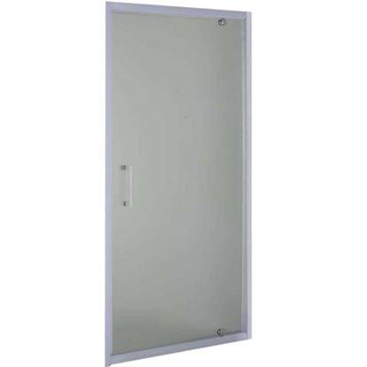 Immagine di Porta battente, profilo alluminio bianco, cristallo piumato, spessore 6 mm, h195 cm, 88/91 cm