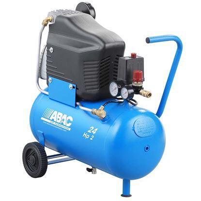 Immagine di Compressore Abac  lubrificato 24 lt, serbatoio 24 lt, 8 bar, potenza 2 Hp - 1,47 Kw, aria aspirata 222 lt/min, attacco rapido, manometro e regolatore di pressione