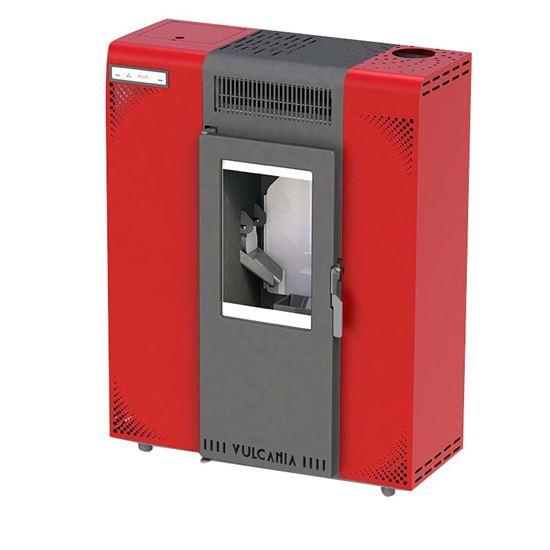 Immagine di Stufa a pellet Vulcania Minislim 6,5 kW, volume riscaldabile 170 m³, resa 88%, fumi Ø 80 mm superiore, programmabile, capacità serbatoio 11 Kg, L700xP265xH900 mm, rivestimento in acciaio, colore rosso